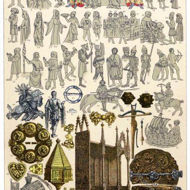 Skandinavien 14. Jahrhundert. Trachten des Volkes im Mittelalter.