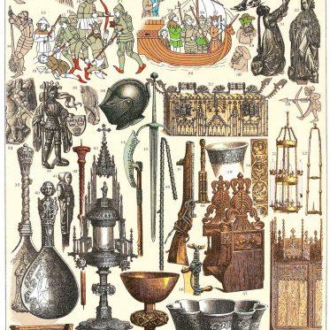 Skandinavien. Trachten von Dänen und  Schweden im 15. Jahrhundert.