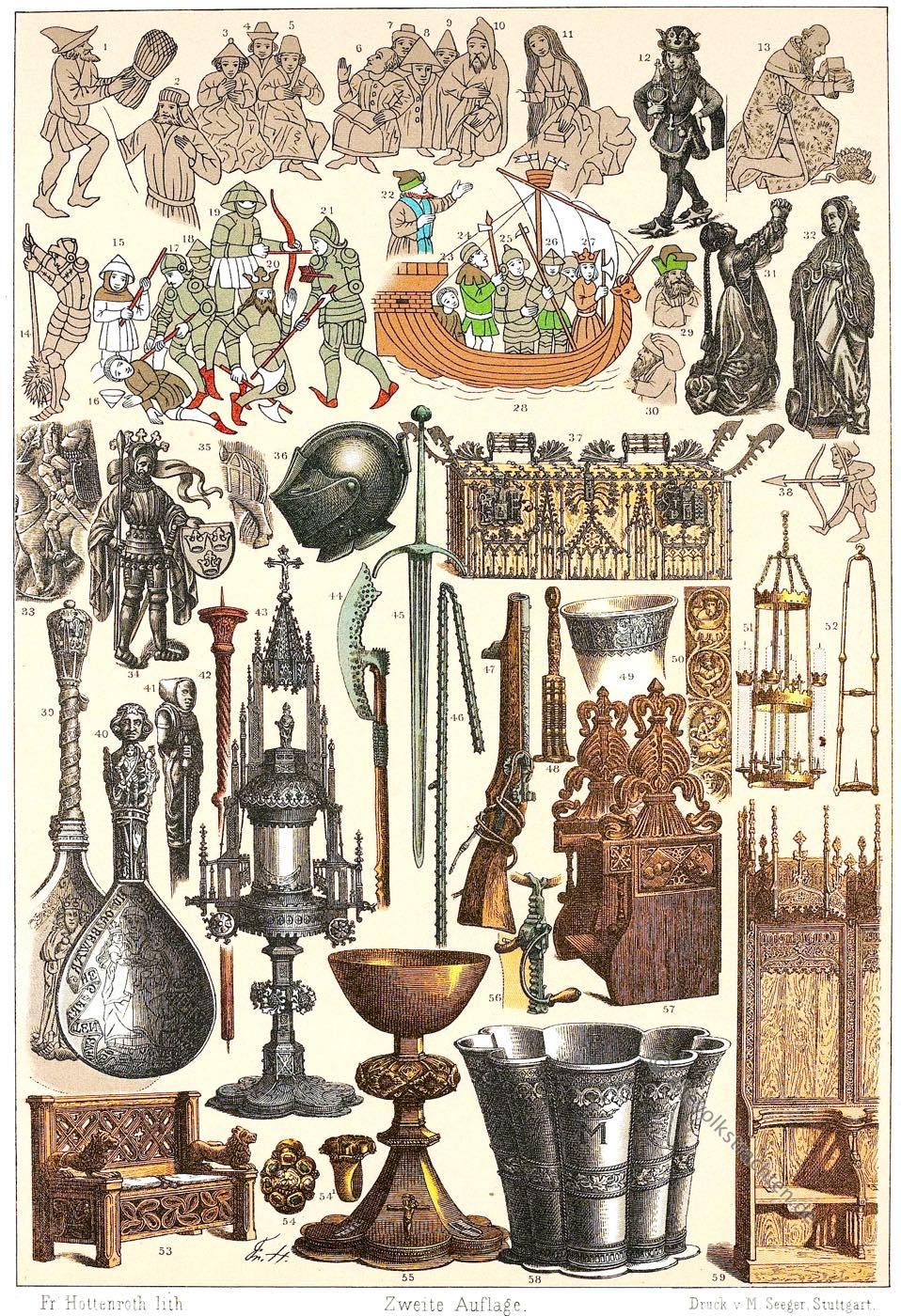 Gewandung, Krieger, Waffen, Nordmänner, Wikinger, Mittelalter, Schmuck, Utensilien, Möbel, Liturgie, Friedrich Hottenroth