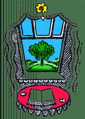 Illustration, Fenster, Buch, Baum, Vektor, Grafik