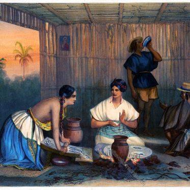 Die Tortilleras. Mexikanische Frauen beim Backen von Tortillas.