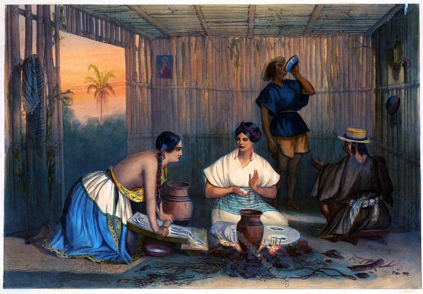 tortilleras, Mexiko, Carl nebel, Kostüm, Tracht, Kreolin