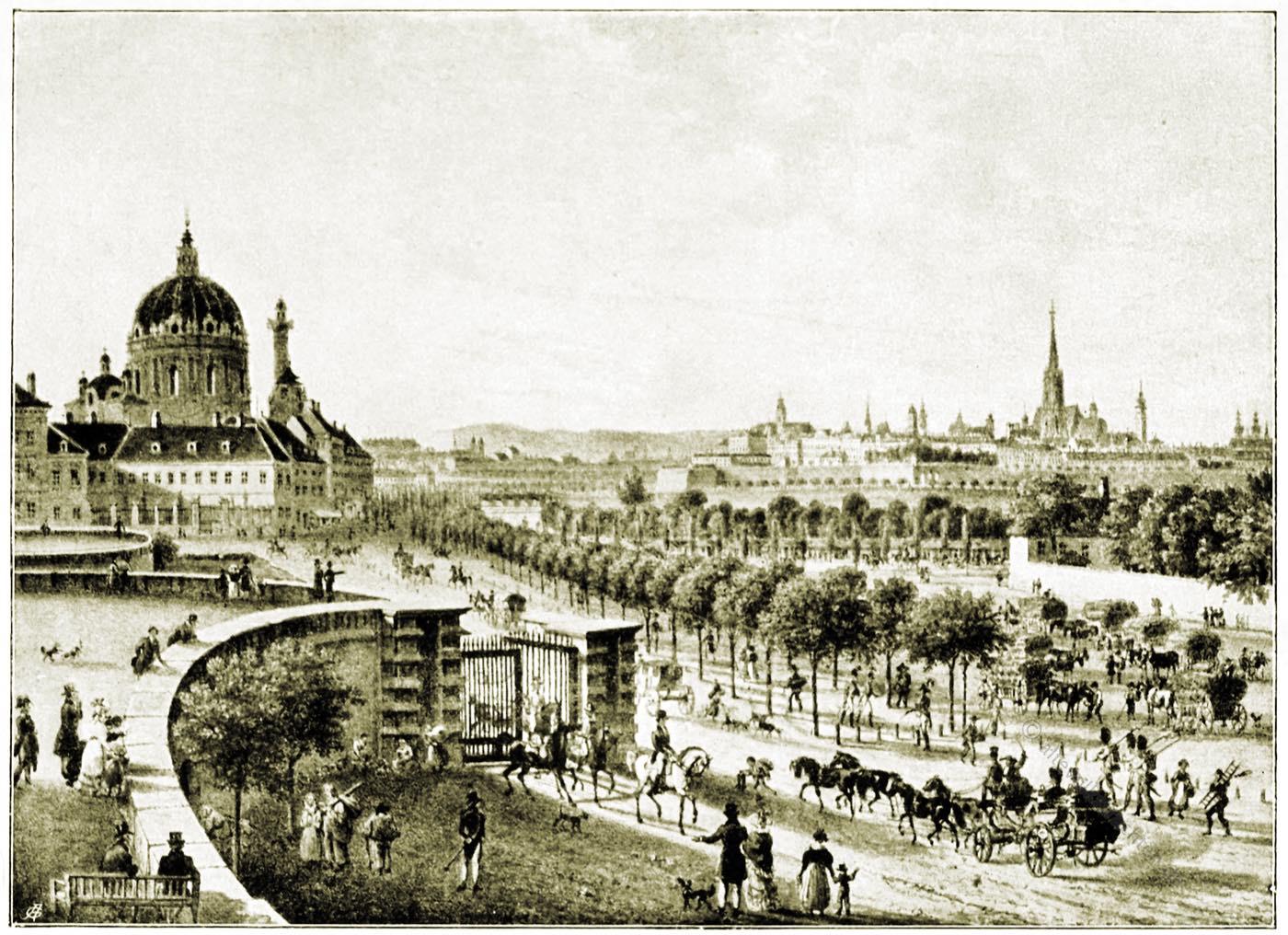 Adalbert Stifter, Stadt, Wien, T. Raulino, Lithographie, Ansicht, Panorama,