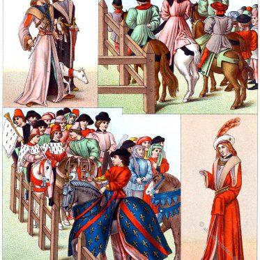 Tournai du roi René. Edelleute à la mode um 1488. Einzug zum Turnier.