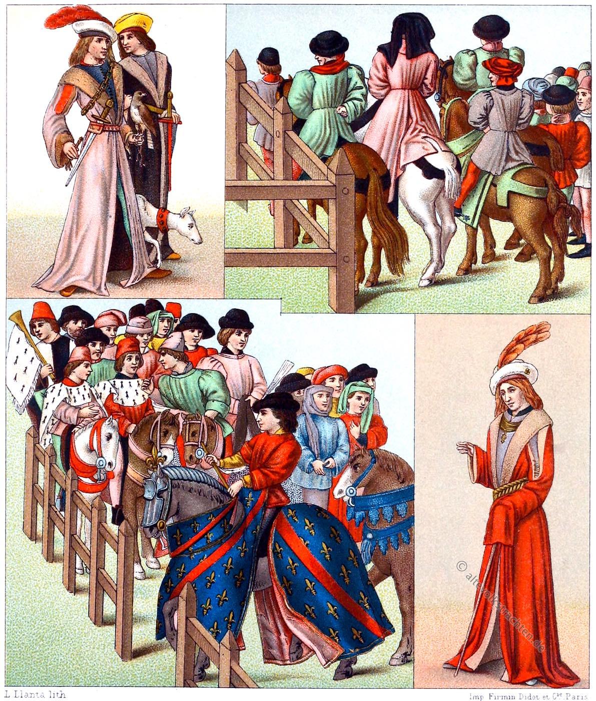 Edelleute, Gewandung, Gotik, Turnier, Mittelalter, Ritter, Kostüme, Modegeschichte,