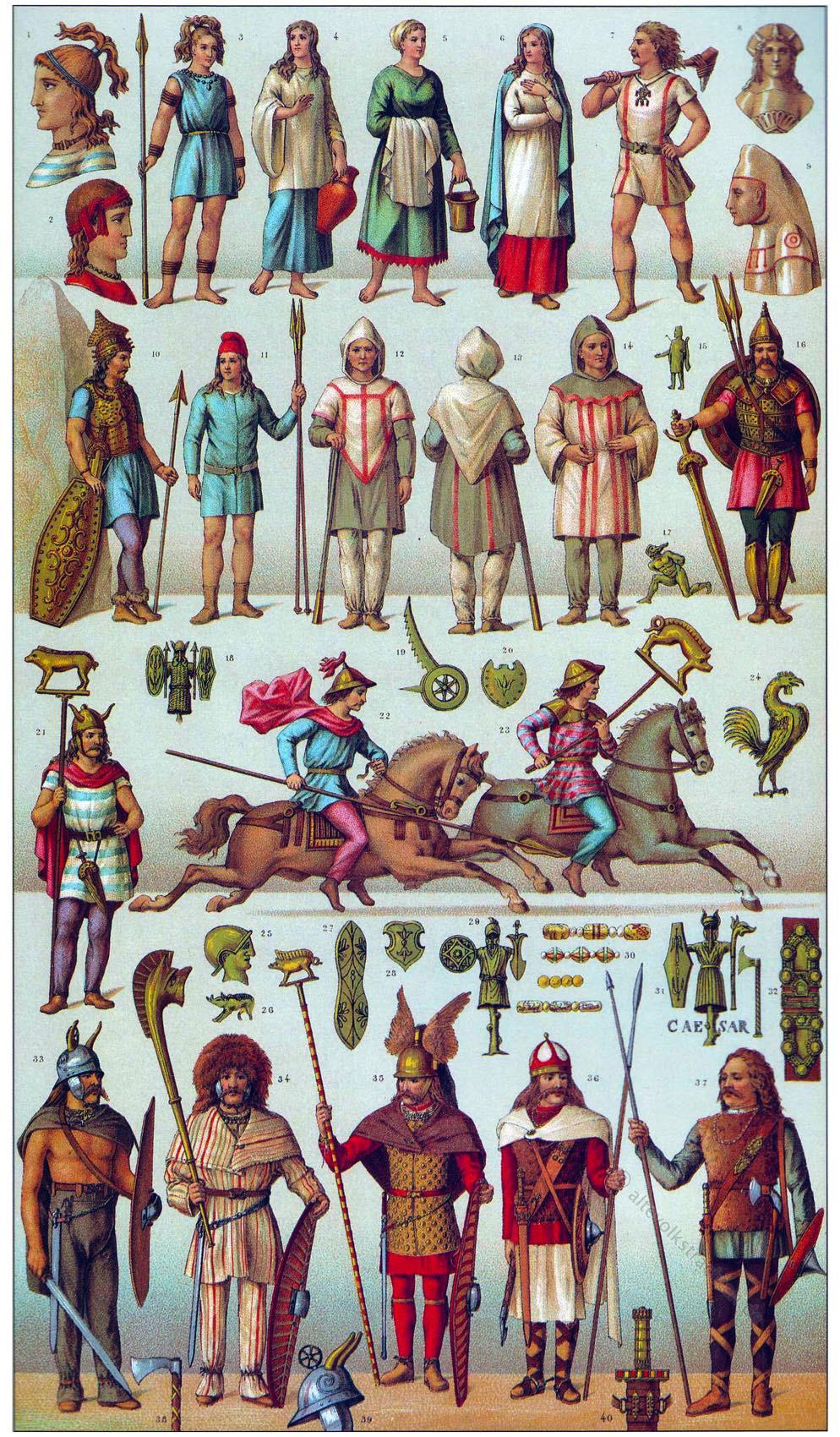 Gallier, Gallien, Antike, Kostüm, Bekleidung, Salier, Franken, Auguste Racinet