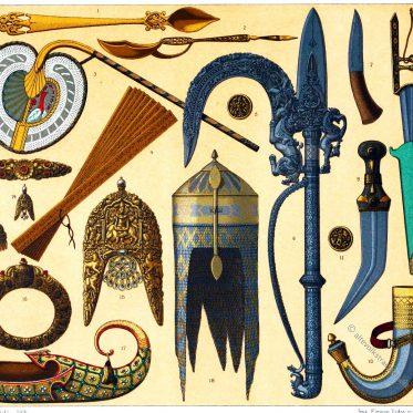 Kunsthandwerk aus Indien. Waffen, Schmuck und Gerätschaften.