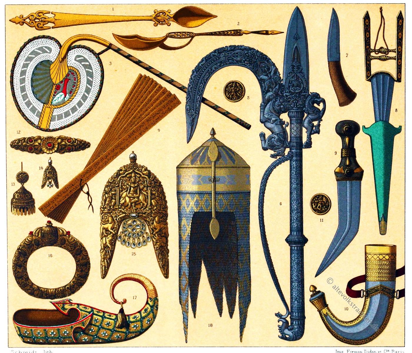 Kunsthandwerk, Indien, Waffen, Schmuck, Broschen, Ohrringe, Auguste Racinet,