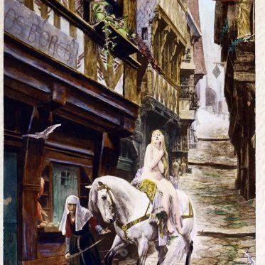 Lady Godiva und ihr Ritt durch die Stadt Coventry.