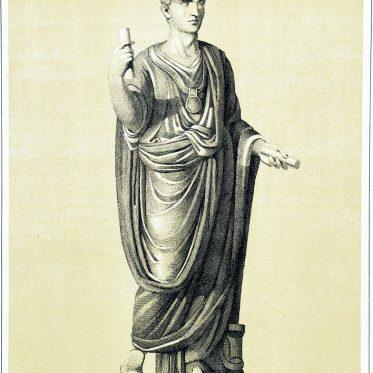 Römer in der toga praetexta. Die verschiedenen Arten der Toga.