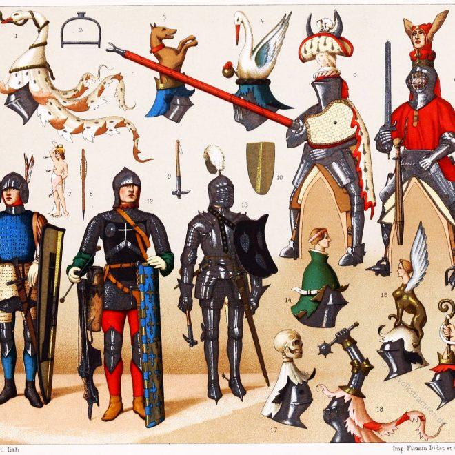 Rüstungen, Turnier, Mittelalter, Ritter, gestech, jousten, Auguste Racinet,
