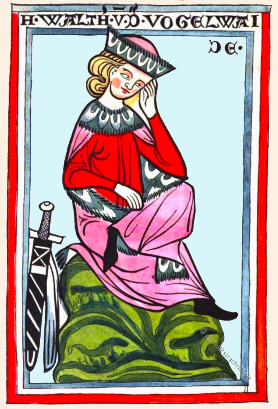 Minnesänger, Mittelalter, Musiker, Dichter, Walther von der Vogelweide,