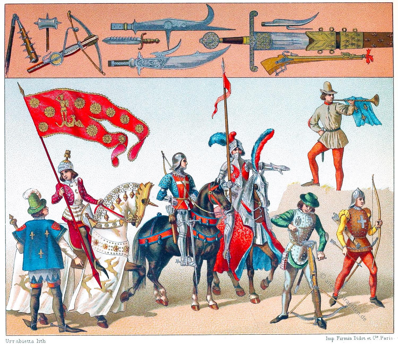 Ordonnanzkompanien, Frankreich, Mittelalter, Soldaten, Militärische Kostüme, Auguste Racinet,