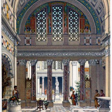 Inneres eines römischen Palastes der Antike. Das Atrium.