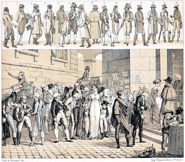 Mode, Dandys, Empire, Directoire, Frankreich, Kostüme, Auguste Racinet, Modefiguren