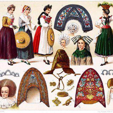 Volkstrachten des Elsass. Haartrachten und Kopfbedeckungen.