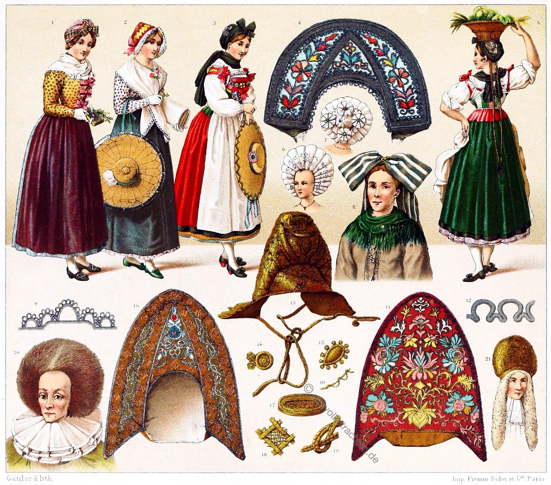 Elsass, Volkstrachten, Frankreich, Trachten, Bendel, Kopfschmuck, Trachtenfrisuren