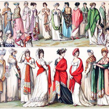 Frankreich. Die Mode des Schals im 18. und 19. Jahrhundert
