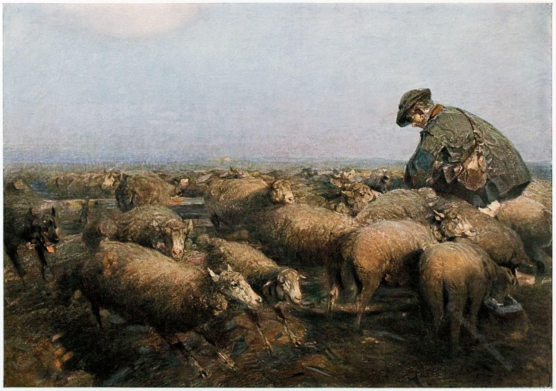 Heinrich von Zügel , Gemälde, Impressionist, Schafe,