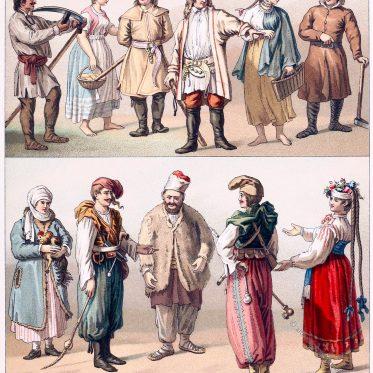 Polnische und ukrainische Volkstrachten des 19. Jahrhunderts.
