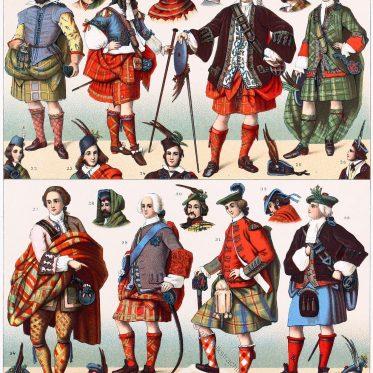 Historische schottische Nationaltrachten. Die verschiedenen Clans.