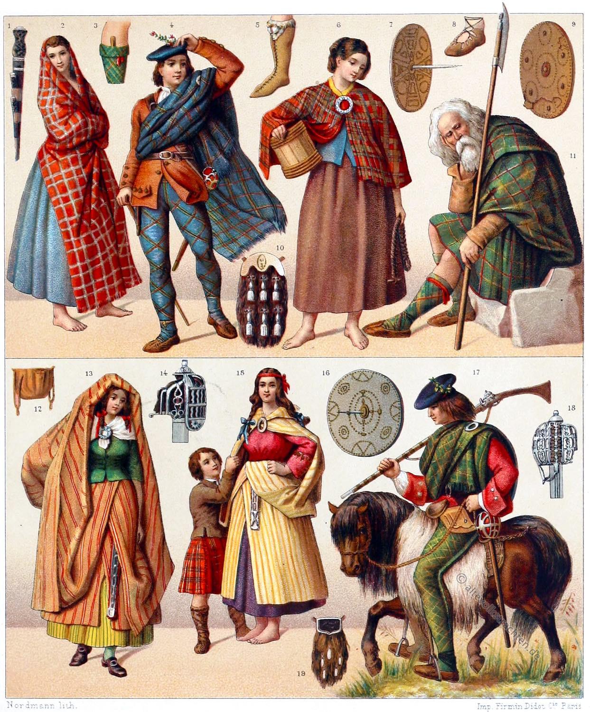 Schottische, Nationaltrachten, Schottland, Trachten, Clans, Tartan, Waffen, Auguste Racinet