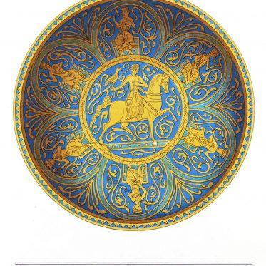 Almosenschale mit Fleurs-de-Lys und arabesken Ornamenten. Mittelalter.
