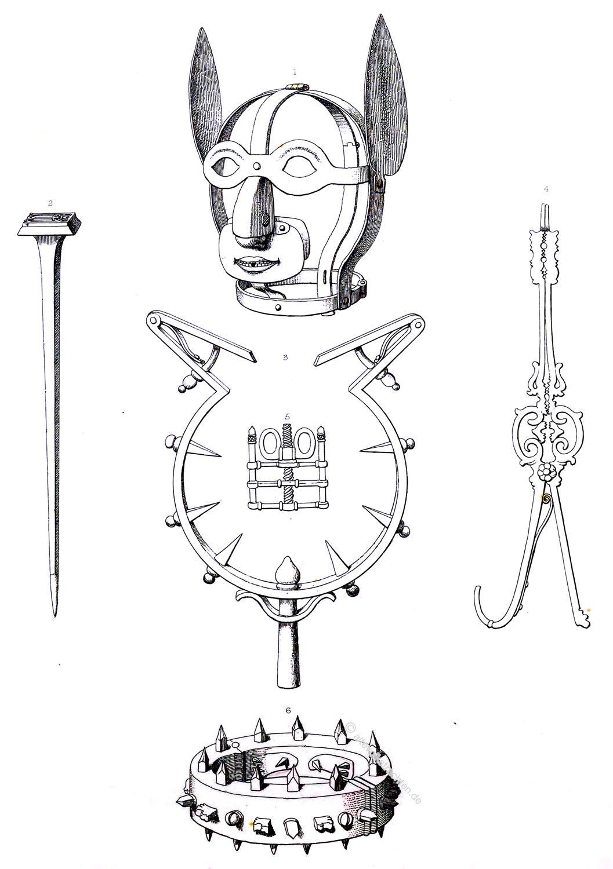 Bestrafung, Folter, BDSM, Schandmaske, Diebstahlfänger, Daumenschrauben, Eisenkragen, Brandeisen