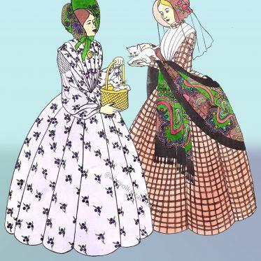 Die Krinoline. Frühviktorianisch. England. Mitte 1840er Jahre.