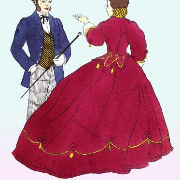 Frühviktorianische Mode um 1860. Informelles Nachmittagsoutfit.