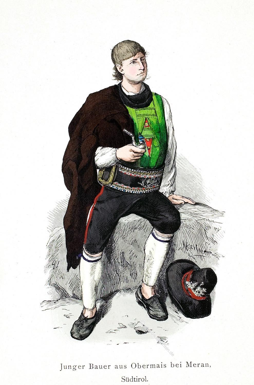 Tracht, Obermais, Bauerntracht, Südtirol, Meran, Franz Lipperheide, Franz Skarbina