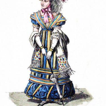 Dame im Pariser Strassenkostüm. Frankreich 1823-1824.