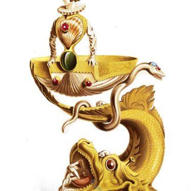 Tischdekoration. Silbervergoldter Salzstreuer. Um 1580.