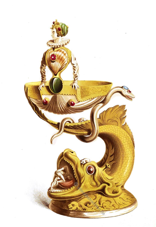 Mittelalter, Goldschmiede, Augsburg, Kunsthandwerk, Tischdekoration, Silbervergoldt, Salzstreuer, 16. Jahrhundert