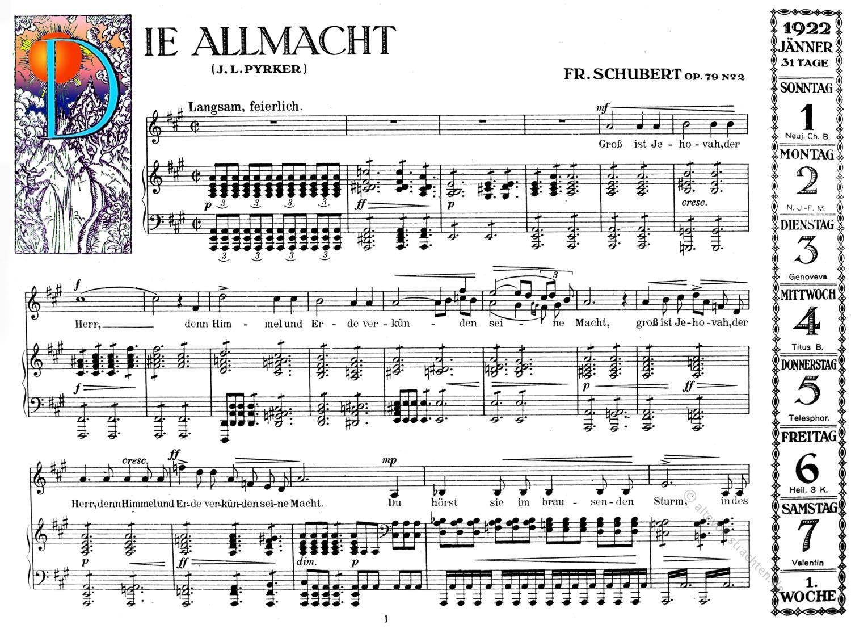 Allmacht, Franz Schubert, Notenblatt, Romantik, Lieder,