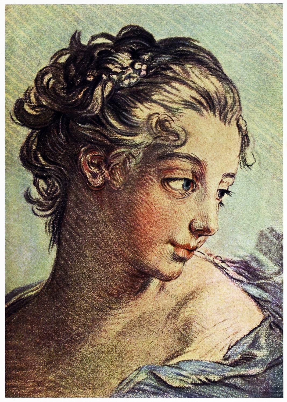 Mädchenkopf, François Boucher, Kupferstich, Rokoko, Louis Marin Bonnet,
