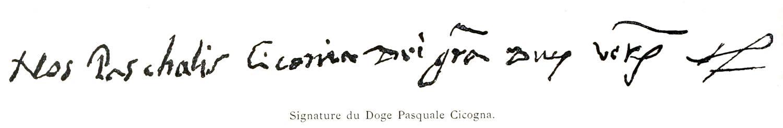 Signature, Doge, Pasquale, Cicogna