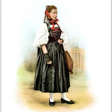Historische Trachtenmode einer Schweizerin des Kanton Basel.