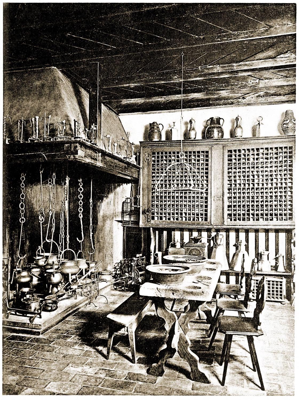 Schweizer, Küche, Einrichtung. Herd, Tisch, Feuerstelle,
