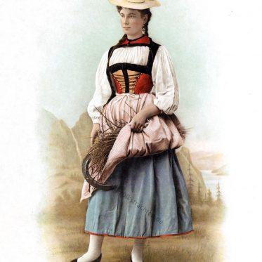 Schweizer Trachten des Kanton Bern. Alte Frauentracht des 19. Jhs.