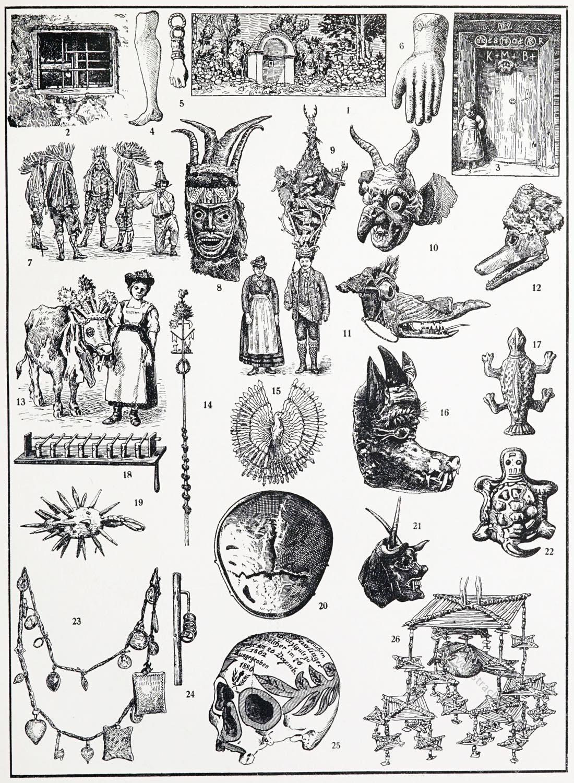 Brauchtum, Tiermasken, Trudenstein, Maibaum, Schutzmittel, Schädelreliquie,