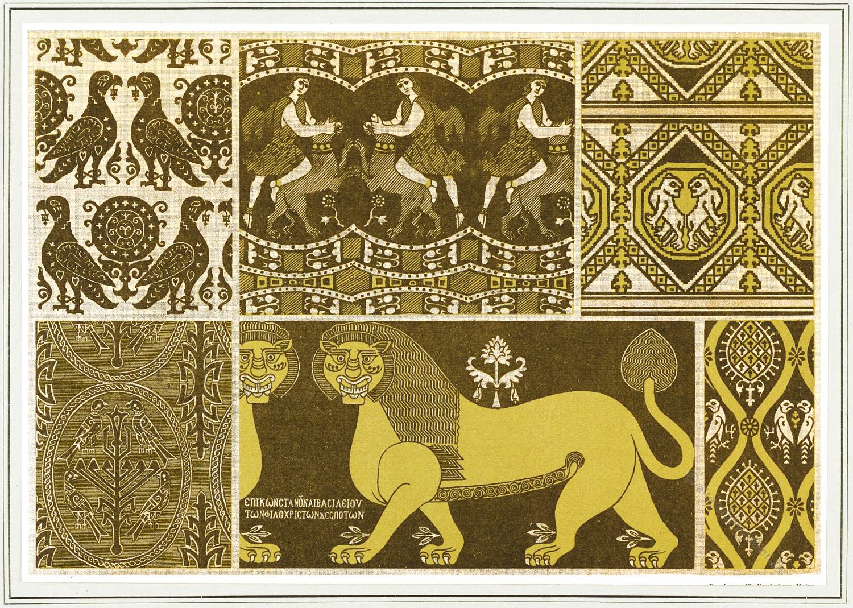 Textildesign, Mittelalter, Stoffmuster, Textildesign, Byzantinisches Gewebe, Gladiatorenkämpfe, Löwen, Granatapfelmuster,