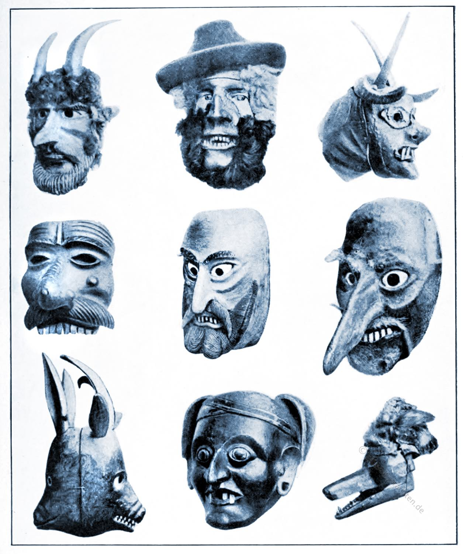 Perchten, Teufelsmasken, Tiermasken,