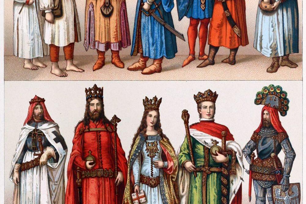 Auguste Racinet, Polen, Kostüme, Kleidung, Mode, Gotik, Mittelalter, Adel, Bürger, Bauer,