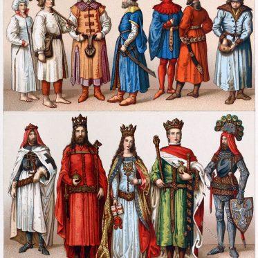 Polnische Kostüme des Adels und des Volkes im Mittelalter.