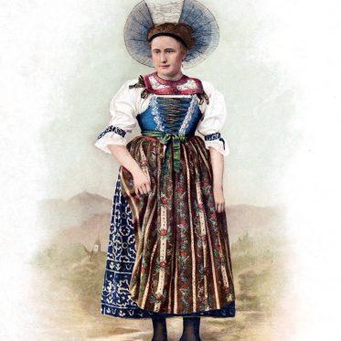 Historische Schweizer Frauentracht des Kanton St. Gallen im 19. Jh.