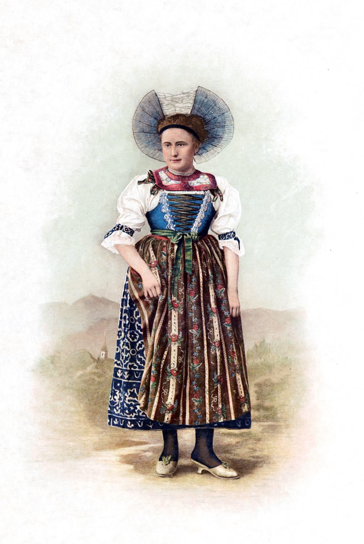 Trachtenmode, Kanton, St. Gallen, Schweiz, Schweizer Volkstrachten, Julie Heierli,