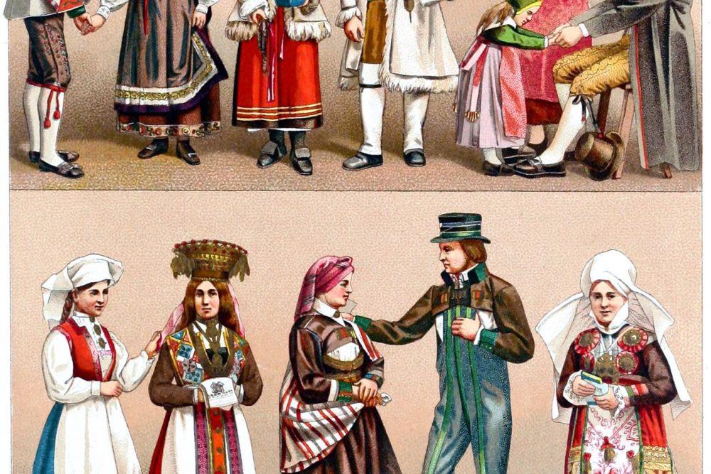 Volkstrachten, Schweden, Landleute, Bauerntrachten, Norwegen, Brautkleid,