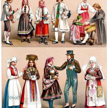 Schwedische Trachten der Landleute. Norwegische Hochzeitskostüme.