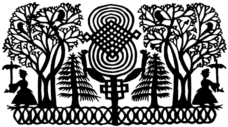 Illustration, Scherenschnitt, Schweiz, Haus, Baum,